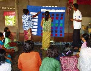 The Blue Cloth: A tool developed by TPO Cambodia to help diagnose mental health and chronic pain issues in a way that's suited to and effective in the Cambodian context.