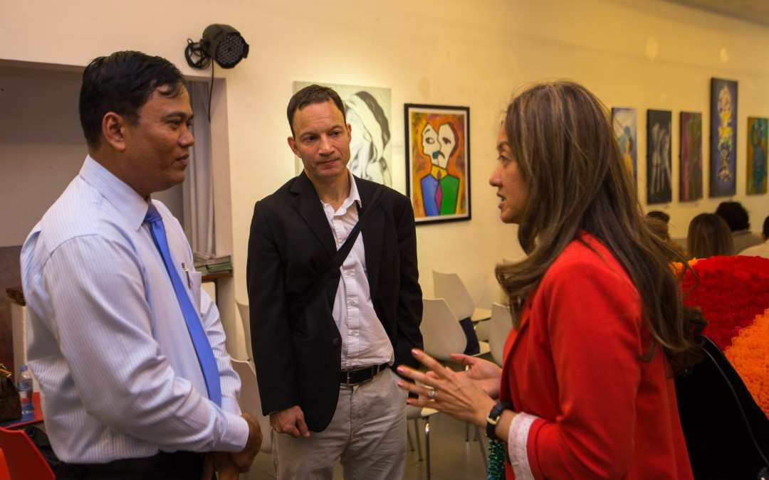 1. Dr. Chhim Sotheara welcomes Ms. Jolie Chung, Deputy Chief of Mission of the U.S Embassy, and Mr. Adam Schumacher, USAID.