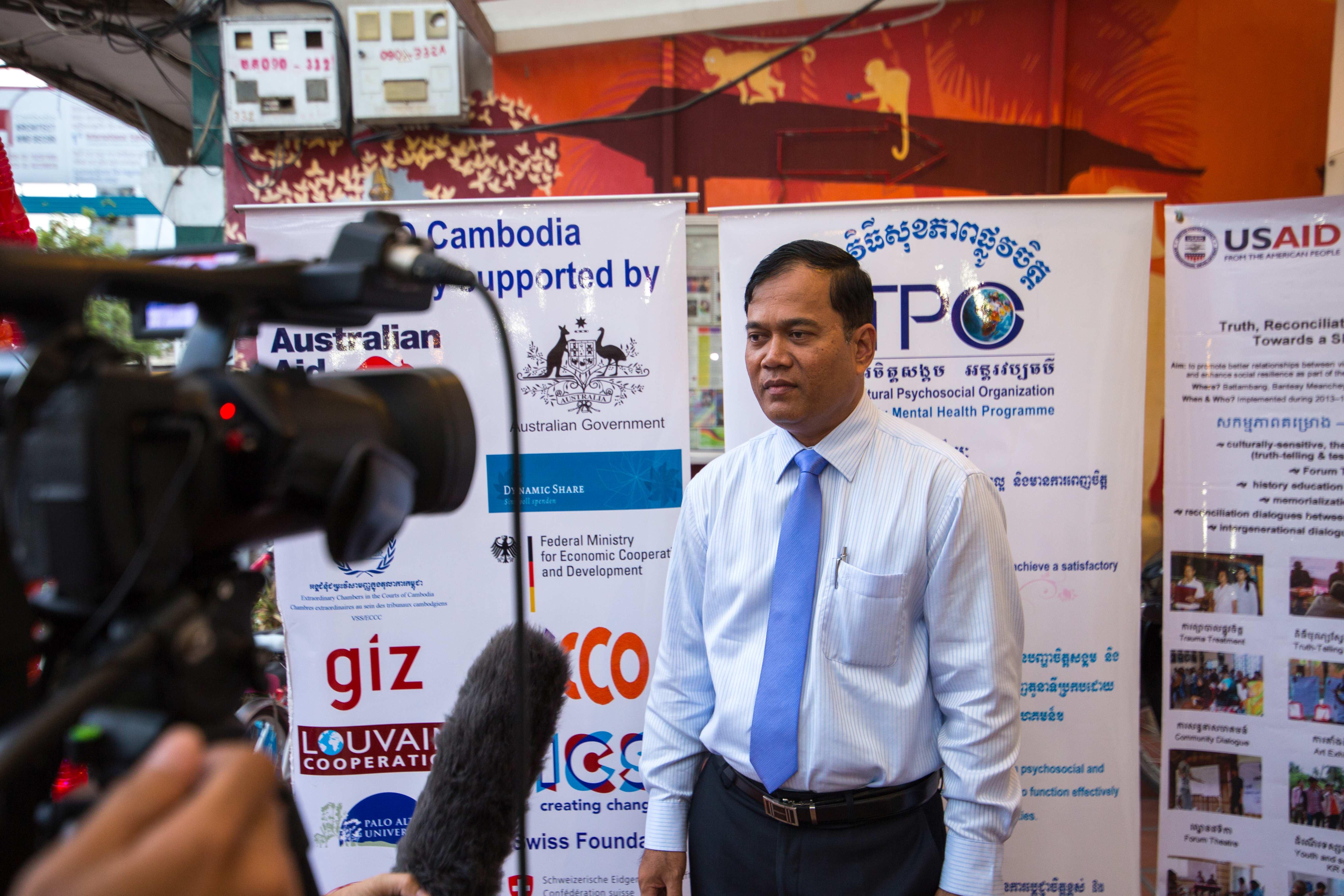 3. A Journalist interviews Dr. Chhim Sotheara, TPO Executive Director
