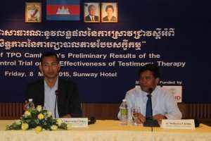Dr Sotheara CHHIM, TPO Executive Director, and Dr Chhorvann CHHEA from the Ministry of Health, talk ethical research during the launch of TPO's study results on the effectiveness of Testimonial Therapy as applied by TPO Cambodia.