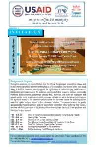 Invitation to Testimonial Therapy 26 Jan in Kg.Thom